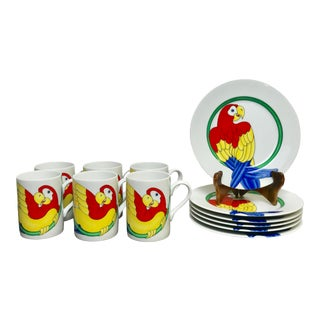 """Fitz & Floyd """"Parrot in a Ring"""" Plates and Cups - Set of 12 For Sale"""