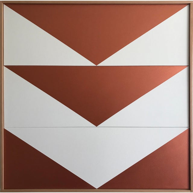 "Original Acrylic Painting ""Copper Arrow Down Triptych JET0508"" For Sale - Image 5 of 5"