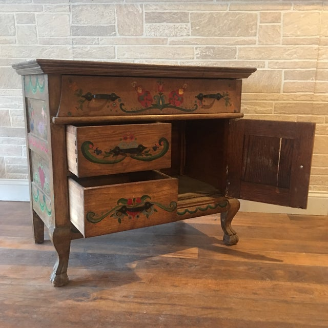 Early 21st Century Dutch Folk Art Painted Oak Chest For Sale - Image 12 of 13