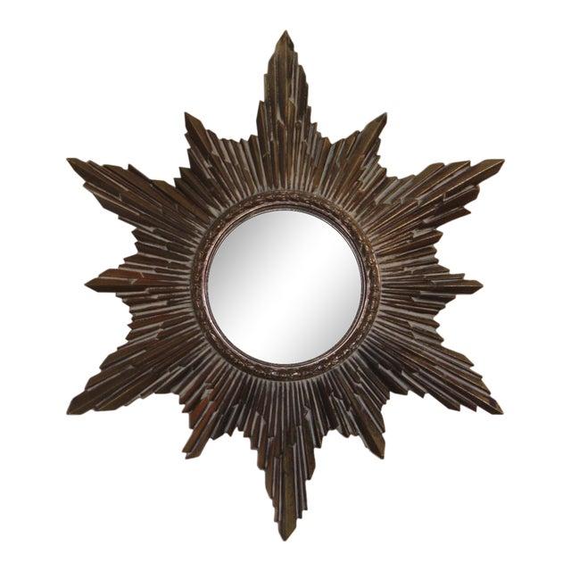 Mid-Century Convex Sunburst Mirror For Sale