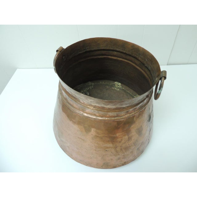 Boho Chic Vintage Round Moroccan Polished Copper Decorative Planter With Handles For Sale - Image 3 of 6