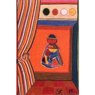 """Orange Sitter"" Oil Pastel Drawing by Sean Kratzert For Sale"