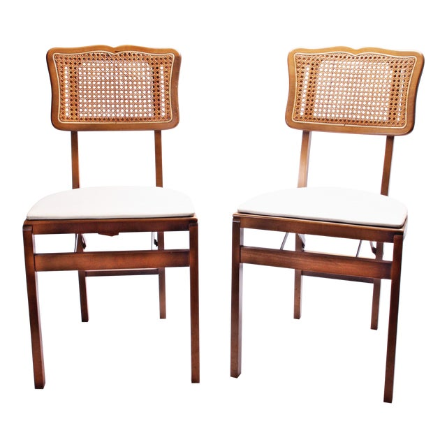 Mid Century Modern Stakmore White Vinyl Wood Folding Chairs - A Pair For Sale