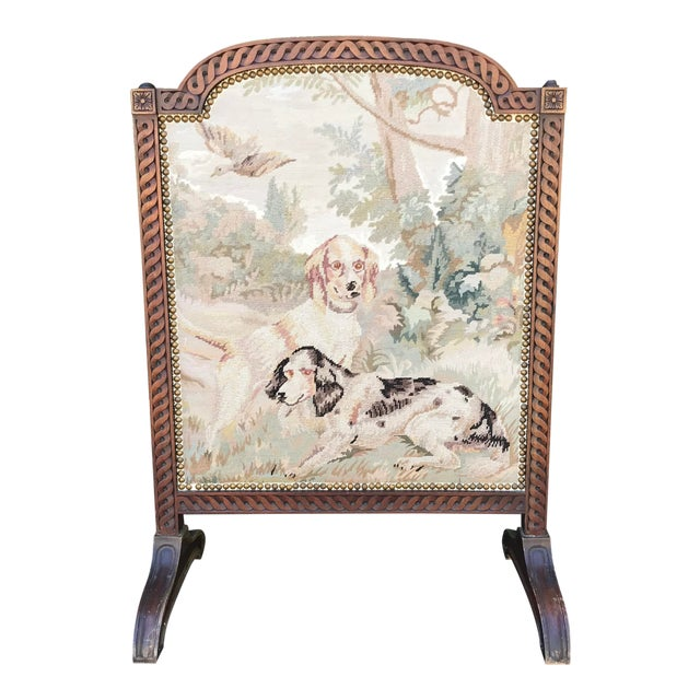 19th-Century Needlepoint Fire Screen For Sale