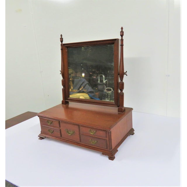 Brass Chippendale Walnut Shaving Mirror For Sale - Image 8 of 8
