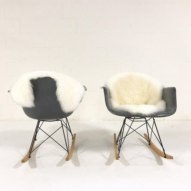 Charles & Ray Eames for Herman Miller Rar Rockers With Sheepskins - a Pair - Image 5 of 7