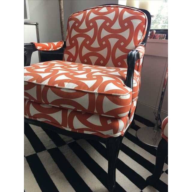 French Style Orange Bergere Chairs & Ottoman - S/3 - Image 4 of 6