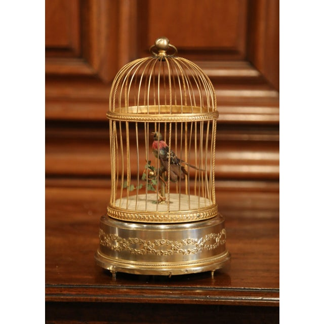 19th Century French Automaton Singing Bird in Brass Cage For Sale - Image 13 of 13