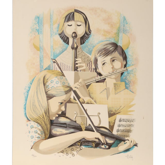 Children's Autay - Music Class Lithograph For Sale - Image 3 of 3