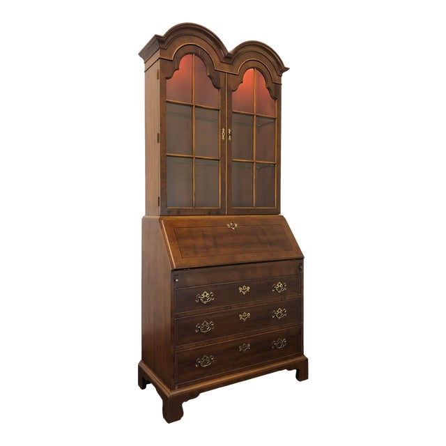 Henredon Chippendale Double Bonnet Top Yew Wood Secretary For Sale