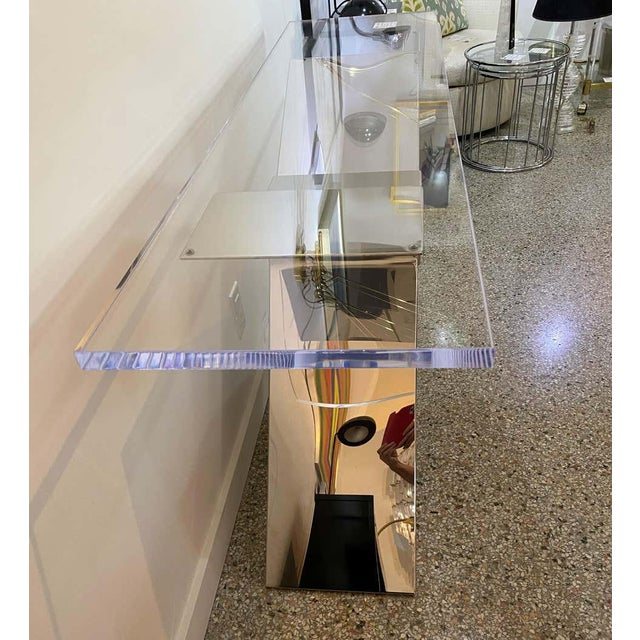 X-Form Console Table in Stainless Steel and Lucite For Sale - Image 12 of 13