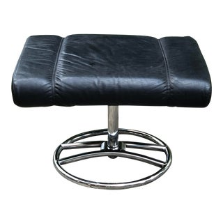 1970s Ekornes Leather and Chrome Ottoman For Sale