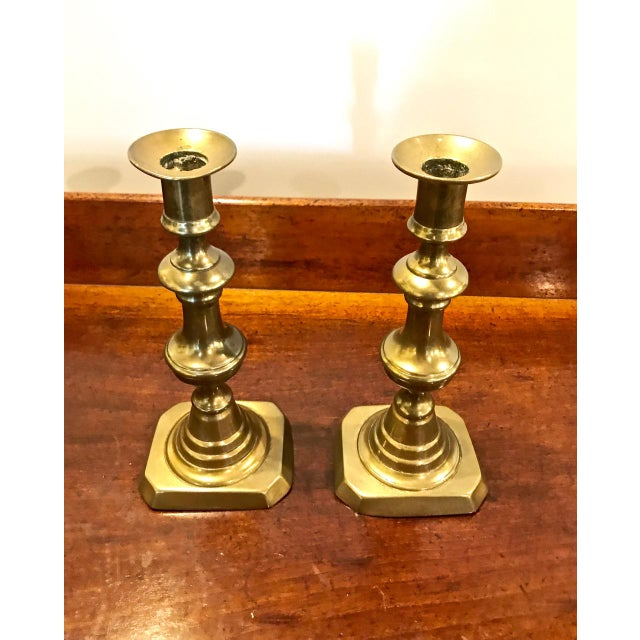 This is a great pair of mid-19th century English Victorian candlesticks. The sticks retain their original warm patina and...
