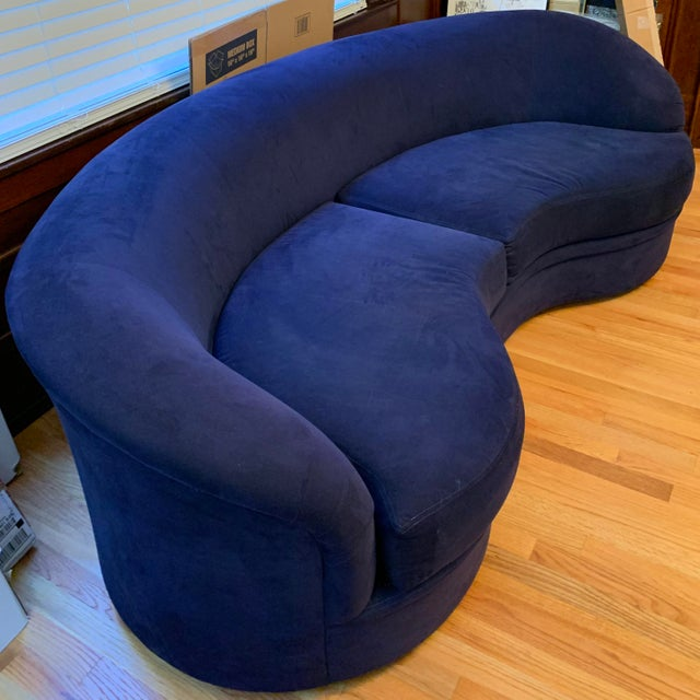 Contemporary Vladimir Kagan Biomorphic Kidney Bean Shaped Sofa For Sale - Image 3 of 4
