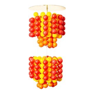 Mid Century Verner Panton Style Red Orange and Yellow Ball Chandelier Pendant Lamp For Sale