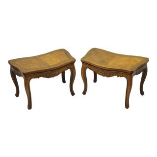 Pair of Vintage Walnut Low Demilune Small Side Accent Pedestal End Tables Attributed Baker For Sale