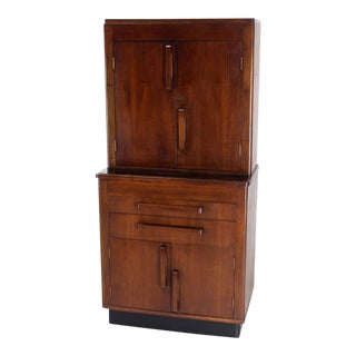 Art Deco Walnut Dental Medicine Cabinet For Sale