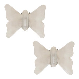 Opaque White Glass Butterfly Form Sconces - a Pair For Sale