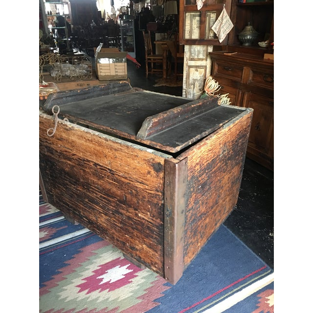 An amazing old ice box found on a farm in Tennessee. Wonderful patina. The wood is beautiful. Sits on heavy industrial...