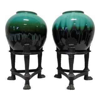 Vintage MAITLAND SMITH Cast Bronze Drip Glaze Planters - Pair