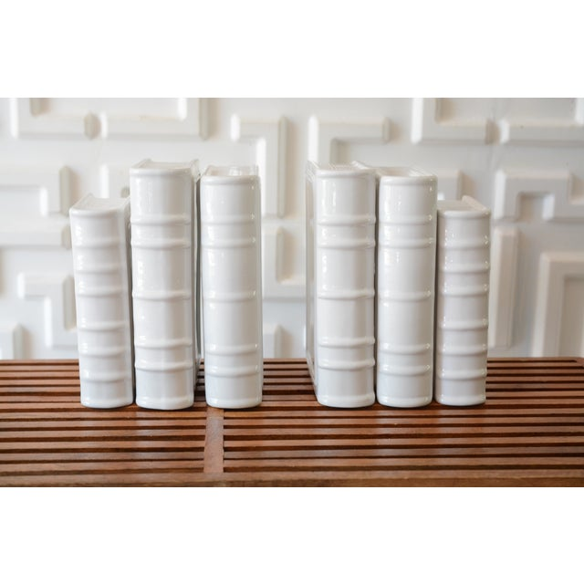 Post Modern Ceramic White Book Sculptures - 6 Piece Set For Sale - Image 10 of 10