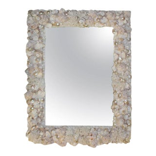 Vintage Palm Beach Vintage Coral Seashell Encrusted Wall Mirror