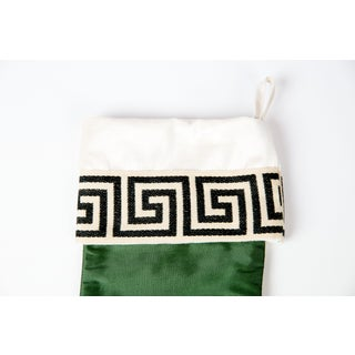 Emerald Silk Greek Key Stocking Preview