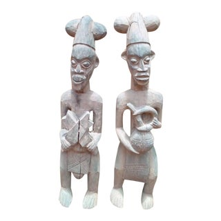 1970s African Wooden Objects - Pair For Sale