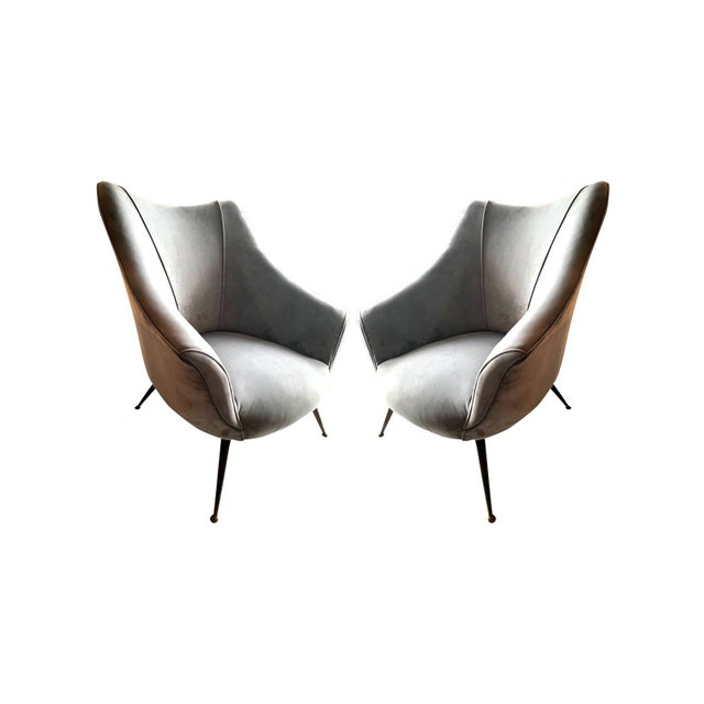 1950s 1955 Mid-Century Barrel Shaped Club Chairs, Italy - a Pair For Sale - Image 5 of 5