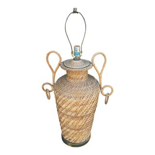 1960s Mid-Century Boho Chic Large Wicker Urn Lamp For Sale