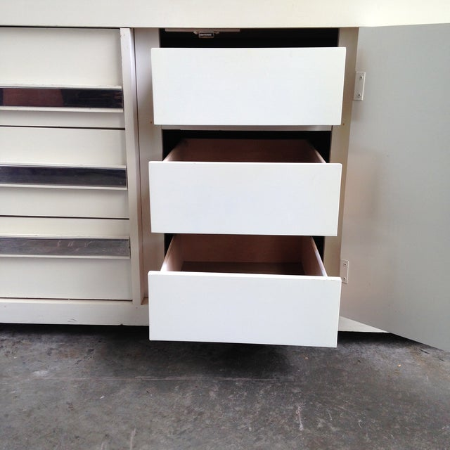 Vintage Chrome & White Lacquered Dresser For Sale - Image 5 of 5