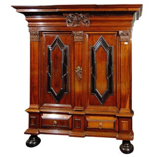 Swedish 18th Century Period Baroque Cabinet With Corinthian Pilasters For Sale