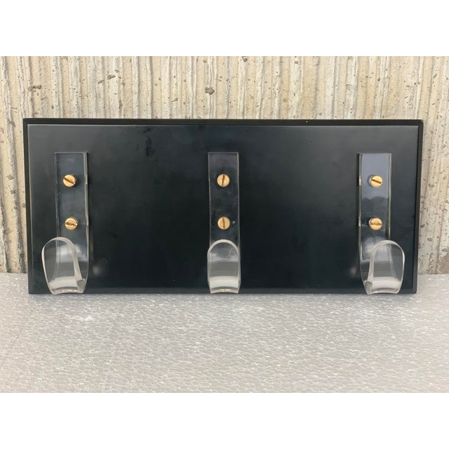 Mid-Century Modern Mid-Century Modern Ebonized Coat Rack With Three Lucite Hangers, 1950, Italy For Sale - Image 3 of 11