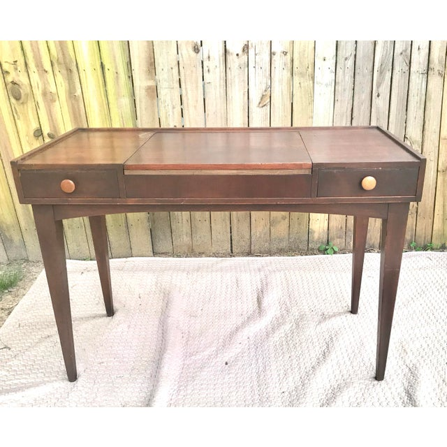 Chestnut Danish Mid Century Modern Teak Vanity Desk/Table For Sale - Image 8 of 8