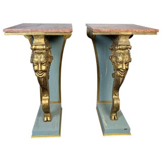 Late 19th Century Vintage Italian Carved Wood Gilt Pedestals - a Pair For Sale