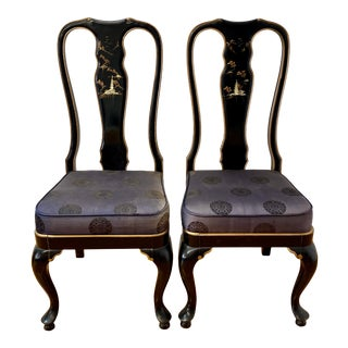 Pair of Taiwanese Black Lacquer and Mother of Pearl Inlay Side Chairs 20th C. For Sale