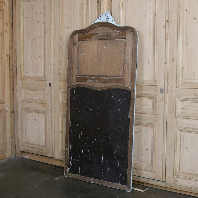 Wood 19th Century French Louis XV Painted Trumeau/Mirror For Sale - Image 7 of 8