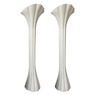 Pair of Casa Bique White Lacquered Resin Torcheres For Sale