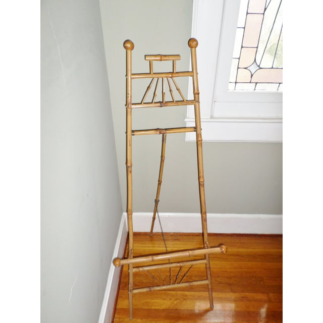 Bamboo Antique Victorian Bamboo Floor Easel Display Stand For Sale - Image 7 of 7