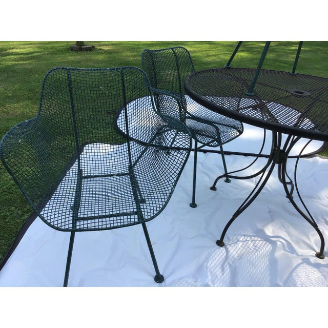 Russell Woodard Sculptura Wrought Iron Patio Set - 5 Pieces For Sale - Image 4 of 7