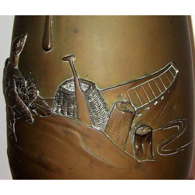 Bronze Japanese Meiji Patinated Bronze Ovoid Vase With Geese and Fishing Boat For Sale - Image 8 of 10