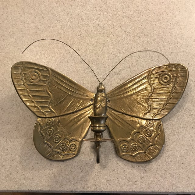1970s Boho Chic Brass Butterfly Wall Candle Holder For Sale - Image 13 of 13