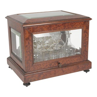 Beveled Glass Panel Decanters and Stemware Tantalus Box For Sale