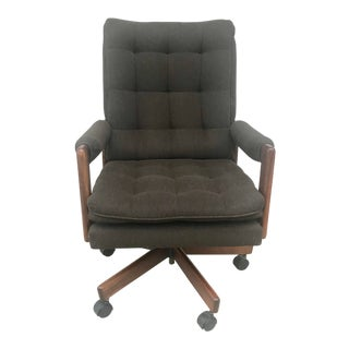 Art Deco Inspired Tufted Tweed Executive Chairs For Sale