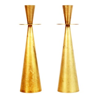 Mid Century Modern Japanese Brass Sculptural Cone Candle Sticks - a Pair For Sale
