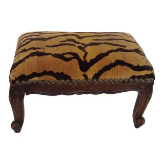 Scalamandre Tiger Seat Carved Foot Stool
