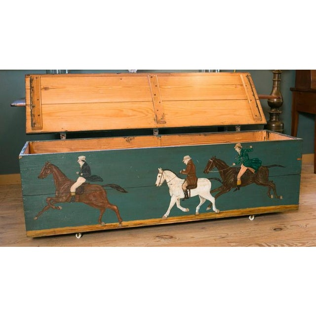 Blanket Chest with Equestrian Scene Hand-Painted by American Folk Artist Lew Hudnall For Sale - Image 4 of 8