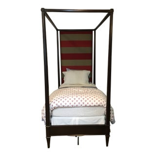 Custom Upholstered Hickory Chair Four-Poster Twin Bed For Sale
