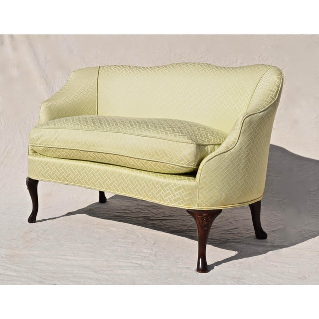 A diminutive vintage settee upholstered in Scalamandré jacquard silk fabric, the piece itself is circa 1940. Features...