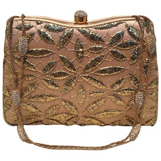 Judith Leiber Silk and Gold Embroidery Evening Bag For Sale
